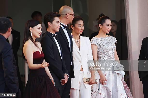 Zhang Yuxian Li Yifeng Guan Hu Jing Liang and Xu Qing attends the closing ceremony and premiere of 'Lao Pao Er' during the 72nd Venice Film Festival...