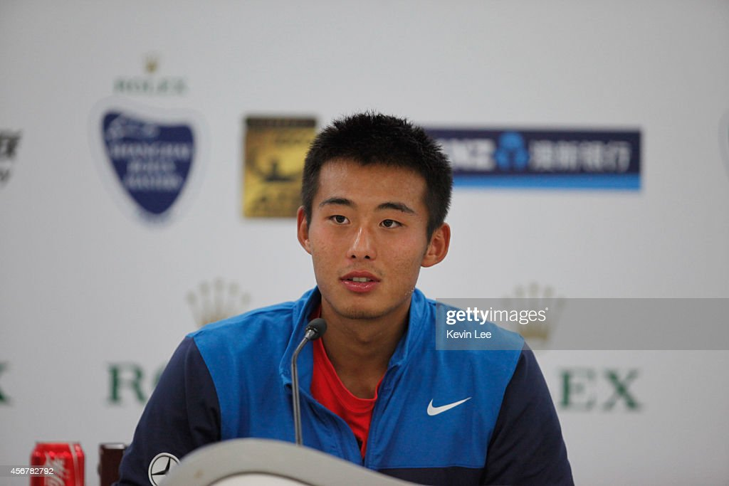 Zhang Ze of China speaks at a press conference during day 3 of the Shanghai Rolex Masters at Zi Zhong stadium on October 7, 2014 in Shanghai, China. Julien Benneteau of France defeats Zhang Ze by 5-7, 6-3, 6-3.