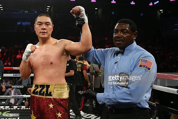 Zhang Zhilei celebrates his fourth round decision win in the heavyweight fight over Glenn Thomas at the Barclays Center on June 6 2015 in the...