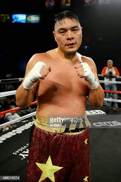 Zhang Zhilei poses after defeating Juan Goode by unanimous decision during their heavyweight fight at the Mandalay Bay Events Center on November 21...