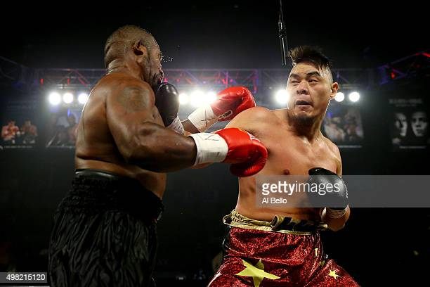 Zhang Zhilei throws a right to the face of Juan Goode during their heavyweight fight at the Mandalay Bay Events Center on November 21 2015 in Las...