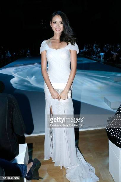 Zhang Zilin Miss World 2007 attends the Lan Yu show as part of Paris Fashion Week Haute Couture Fall/Winter 20142015 at the Grand Palais on July 9...