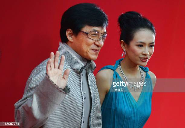 Zhang Ziyi and Jackie Chan arrive at the red carpet of the first Beijing International Film Festival at China's National Grand Theater on April 23...