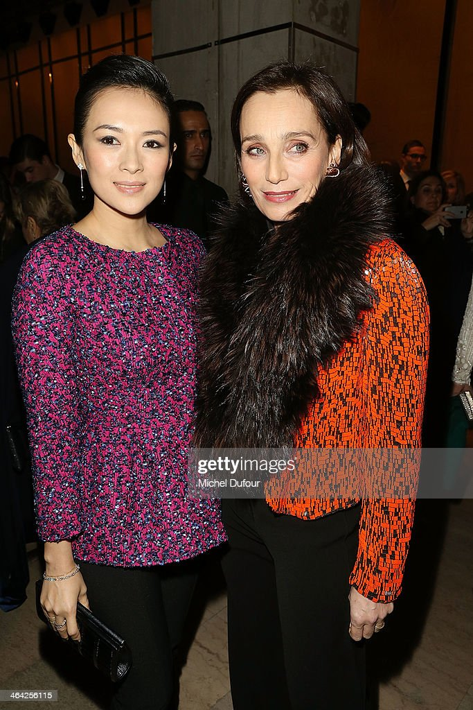 Zhang Ziyi and Kristin Scott Thomas attend the Giorgio Armani Prive show as part of Paris Fashion Week Haute Couture Spring/Summer 2014 on January 21, 2014 in Paris, France.