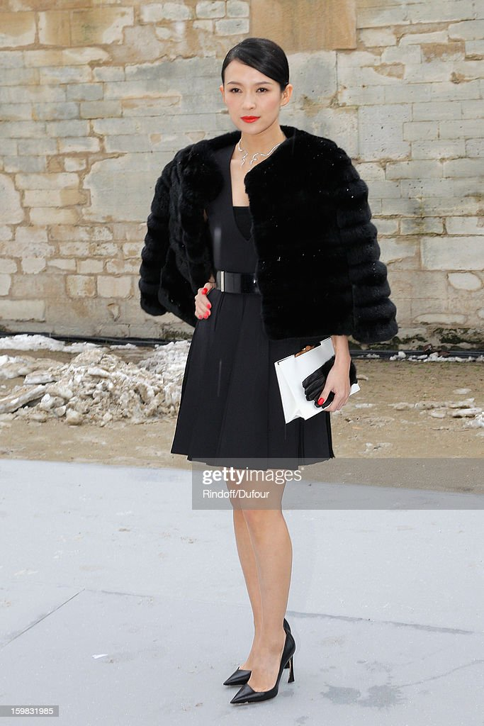 Zhang Ziyi arrives to attend the Christian Dior Spring/Summer 2013 Haute-Couture show as part of Paris Fashion Week at on January 21, 2013 in Paris, France.