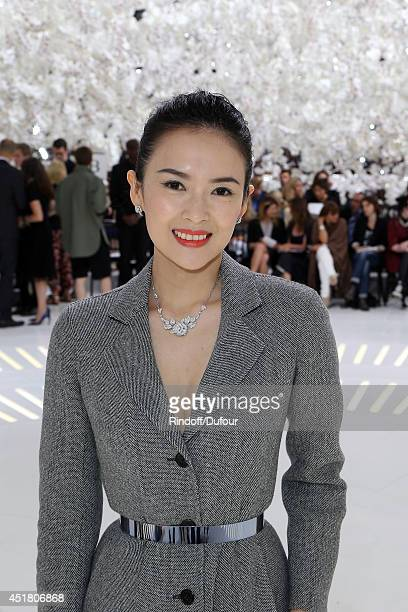 Zhang Ziyi attends the Christian Dior show as part of Paris Fashion Week Haute Couture Fall/Winter 20142015 at Muse Rodin on July 7 2014 in Paris...