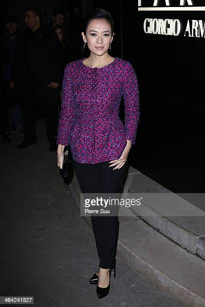 Zhang Ziyi attends the Giorgio Armani Prive show as part of Paris Fashion Week Haute Couture Spring/Summer 2014 on January 21 2014 in Paris France