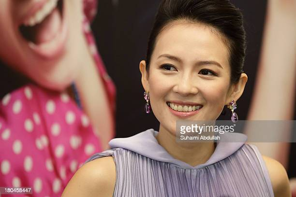 Zhang Ziyi attends the media conference of the movie premiere of 'My Lucky Star' at the ArtScience Museum at Marina Bay Sands on September 13 2013 in...