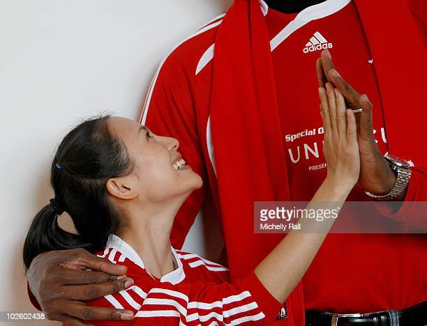 Zhang Ziyi Chinese actress and Special Olympic's Global Ambassador with Dikembe Mutumbo NBA Legend and Global Ambassador at the Crystal Towers Hotel...