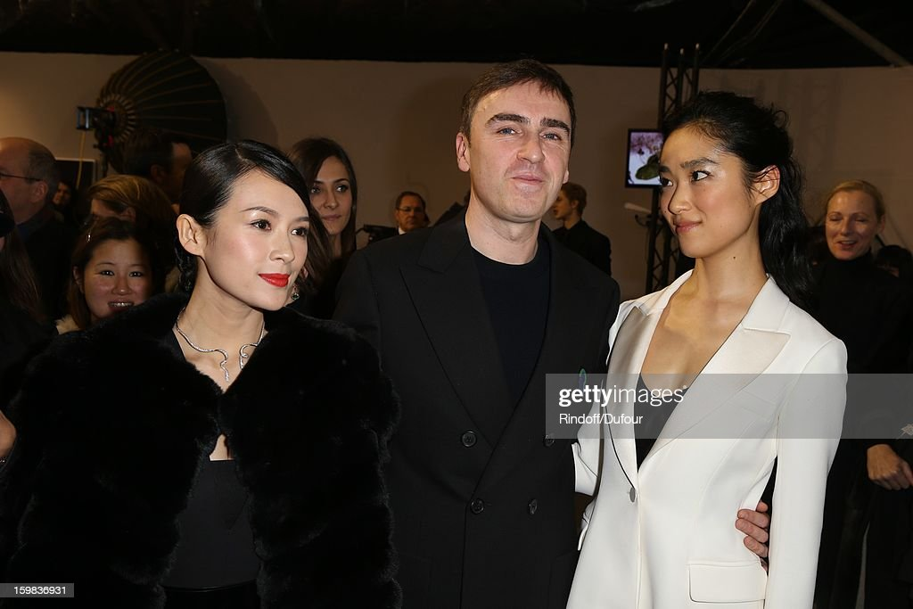 Zhang Ziyi, <a gi-track='captionPersonalityLinkClicked' href=/galleries/search?phrase=Raf+Simons+-+Fashion+Designer&family=editorial&specificpeople=7070305 ng-click='$event.stopPropagation()'>Raf Simons</a> and Eriko Hatsune attend in Backstage the Christian Dior Spring/Summer 2013 Haute-Couture show as part of Paris Fashion Week at on January 21, 2013 in Paris, France.