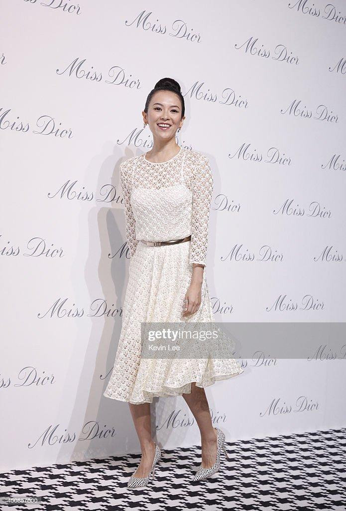 Zhangh Ziyi attends Miss Dior Exhibition on June 19, 2014 in Shanghai, China.