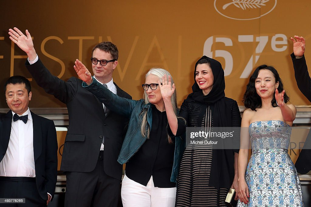 Zhangke Jia, Nicolas Winding Refn, Jane Campion, Leila Hatami and Do-yeon Jeon attend the red carpet for the Palme D'Or winners at the 67th Annual Cannes Film Festival on May 25, 2014 in Cannes, France.