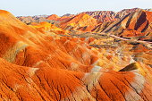 Zhangye Danxia Geological park scenery. It is the one of most beautiful Danxia landform in China. Taken on the Zhangye, Gansu, China.