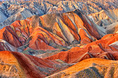 Danxia landform at sunset, Zhangye, Gansu, China.