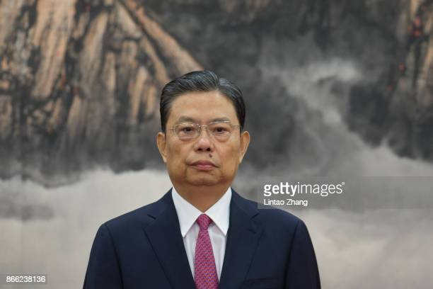 Zhao Leji attends the greets the media at the Great Hall of the People on October 25 2017 in Beijing China China's ruling Communist Party today...