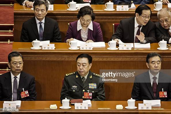 Zhao Leji Chinese Communist Party secretary of Chongqing front left Fan Changlong vice chairman of China's Central Military Commission front center...