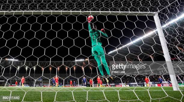 Zhao Lina of China saves a ball during the EAFF E1 Women's Football Championship between Japan and China at Fukuda Denshi Arena on December 11 2017...