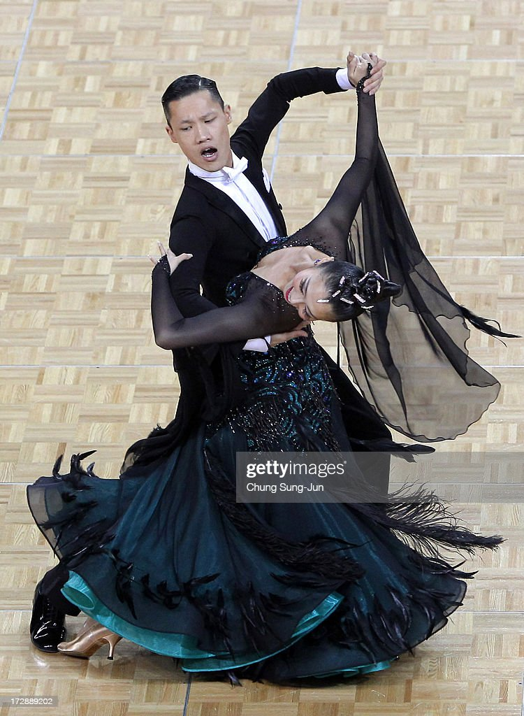 Zhao Peng and partner Wang Qi of China compete in the Dancesport- Standard Five Dances Waltz Final at Samsan World Gymnasium during day seven of the 4th Asian Indoor & Martial Arts Games on July 5, 2013 in Incheon, South Korea.