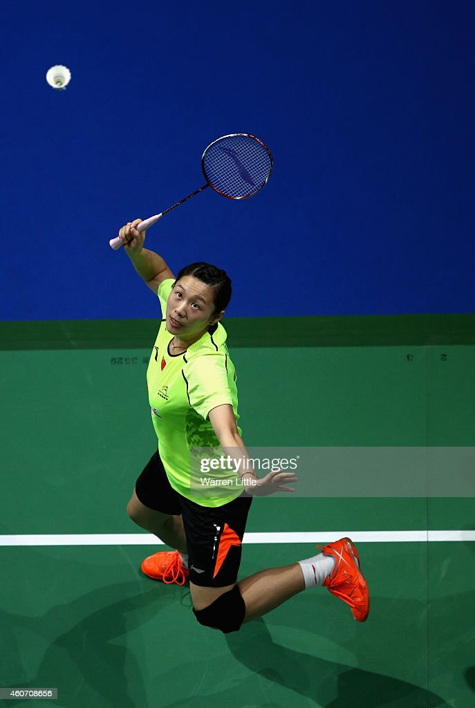 Zhao Yulei of China in action against Chris Adcock and Gabrielle Adcock of England during the Mixed Doubles match on day four of the BWF Destination Dubai World Superseries Finals at the Hamdan Sports Complex 20, 2014 in Dubai, United Arab Emirates.