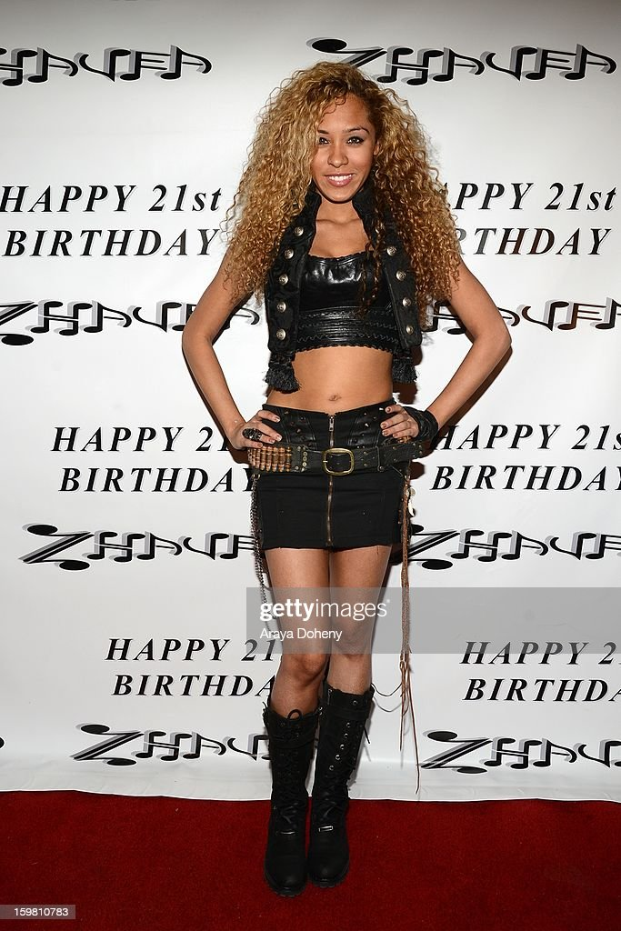 Zhavea, wearing Forgotten Saints, Alaia and Bartels Harley Davidson attends Zhavea's 21st Birthday Bash At A Private Mansion In Hollywood event on January 19, 2013 in Hollywood, California.