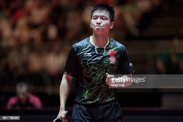 Zhendong Fan celebrates during Men's Singles eightfinals against Ruwen Filus of Germany at Table Tennis World Championship at Messe Duesseldorf on...