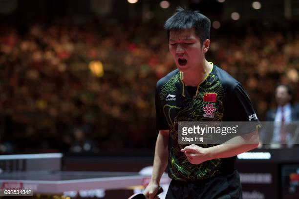 Zhendong Fan of China reacts during Men's Singles Final at Table Tennis World Championship at Messe Duesseldorf on June 5 2017 in Dusseldorf Germany