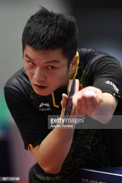 Zhendong Fan of China servres during the men's singles semi final match against Jun Mizutani of Japan on the day 5 of the 2017 ITTF World Tour...