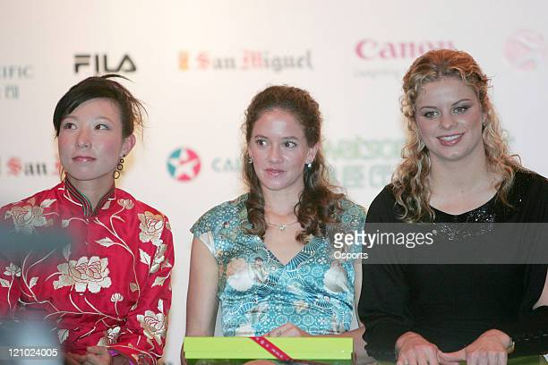 Zheng Jie Patty Schnyder and Kim Clijsters during the Welcome Party in Hong Kong China on January 2 2007