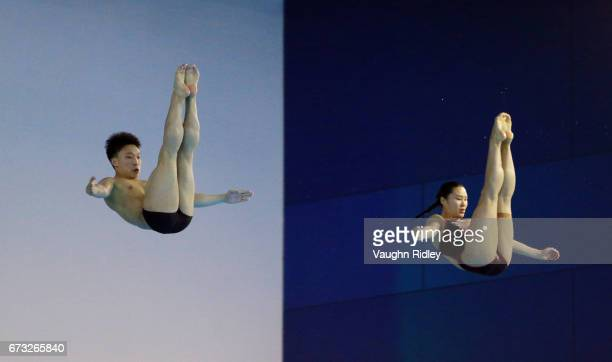 Zheng Li and Han Wang of China compete in the Mixed 3m Synchro Final during the 2017 FINA Diving World Series at the Windsor International Aquatic...
