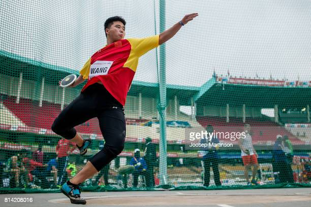 Zheng Wang of China competes in the boys discus throw qualification during day 3 of the IAAF U18 World Championships at Moi International Sports...