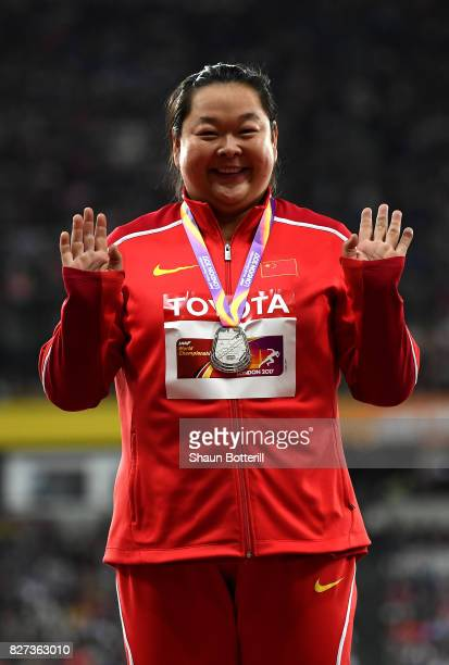 Zheng Wang of China silver poses with her medal for the Women's Hammer final during day four of the 16th IAAF World Athletics Championships London...