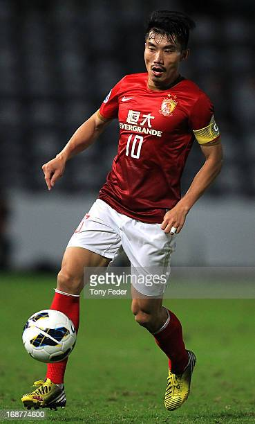 Zheng Zhi of Evergrande controls the ball during the AFC Asian Champions League match between the Central Coast Mariners and Guangzhou Evergrande at...
