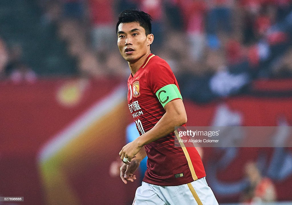 <a gi-track='captionPersonalityLinkClicked' href=/galleries/search?phrase=Zheng+Zhi&family=editorial&specificpeople=587776 ng-click='$event.stopPropagation()'>Zheng Zhi</a> of Guangzhou Evergrande in action during the AFC Asian Champions League match between Guangzhou Evergrande FC and Sydney FC at Tianhe Stadium on May 3, 2016 in Guangzhou, China.