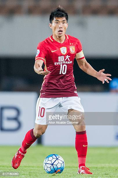 Zheng Zhi of Guangzhou Evergrande in action during the Guangzhou Evergrande FC v Pohang Steelers match as part of the AFC Champions League 2016 at...
