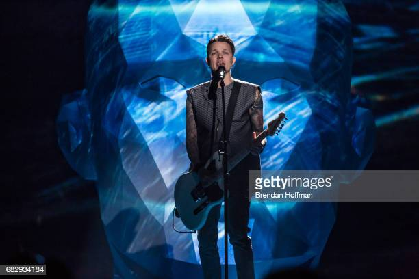 Zhenia Halych of the band OTorvald the contestant from Ukraine performs during a rehearsal for the Eurovision Grand Final on May 12 2017 in Kiev...
