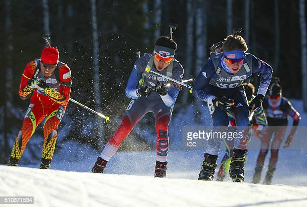 Zhenyu Zhu of China Woojin Wang of Korea and Vaclav Cervenka of USA compete in the Biathlon Men's 10km Pursuit at Birkebeineren Biathlon Stadium...