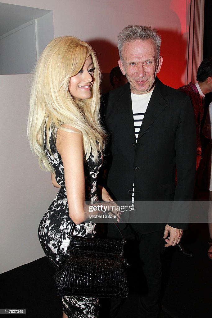 Zhia Dehar and Jean Paul Gaultier attend the Jean-Paul Gaultier Haute-Couture Show as part of Paris Fashion Week Fall / Winter 2013 on July 4, 2012 in Paris, France.