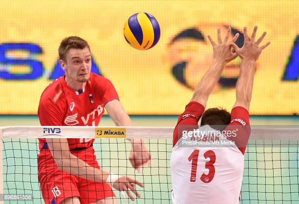 Zhigalov Maxim Kubiak Michal during the FIVB Volleyball World League 2017 match between Poland and Russia at Spodek on June 15 2017 in Katowice Poland