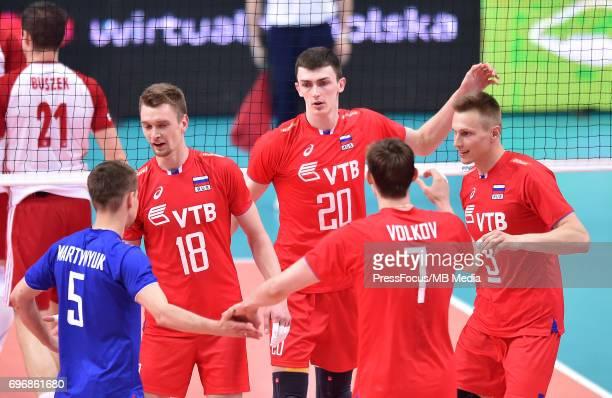 Zhigalov Maxim Kurkaev Llyas Martynyuk Roman Volkov Dmitry KOvalev Dmitry during the FIVB Volleyball World League 2017 match between Poland and...