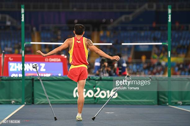 Zhiqiang Zhong of China prepares to compete in the men's high jump T42 final during the Rio 2016 Paralympic Games at Olympic Stadium on September 9...
