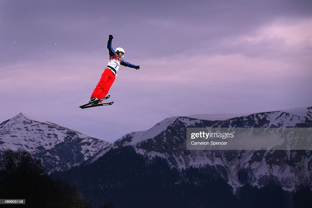Zhongqing Liu of China competes in the Freestyle Skiing Men's Aerials Qualification on day ten of the 2014 Winter Olympics at Rosa Khutor Extreme Park on February 17, 2014 in Sochi, Russia.