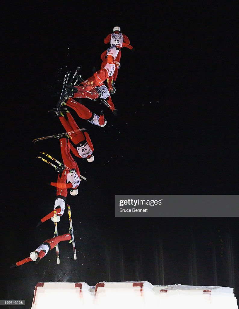 Zhongqing Liu #10 of China jumps in the USANA Freestyle World Cup aerial competition at the Lake Placid Olympic Jumping Complex on January 19, 2013 in Lake Placid, New York.