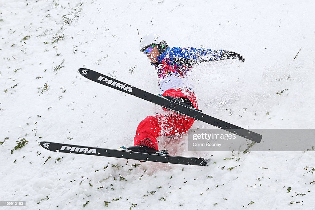 Zhongqing Liu of China lands in the Freestyle Skiing Men's Aerials Qualification on day ten of the 2014 Winter Olympics at Rosa Khutor Extreme Park on February 17, 2014 in Sochi, Russia.