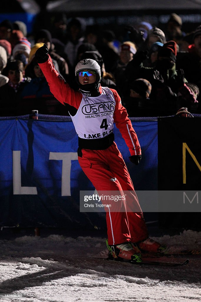Zhongqing Liu of China reacts after jumping in the Men's Aerials event at the USANA Lake Placid FIS Freestyle Ski World Cup on January 21, 2012 in Lake Placid, New York.