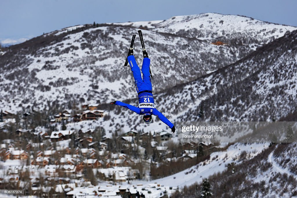 Zhongqing Liu of China takes a practice run for the men's aerials for the 2016 FIS Freestyle Ski World Cup at Deer Valley Resort on February 3, 2016 in Park City, Utah.