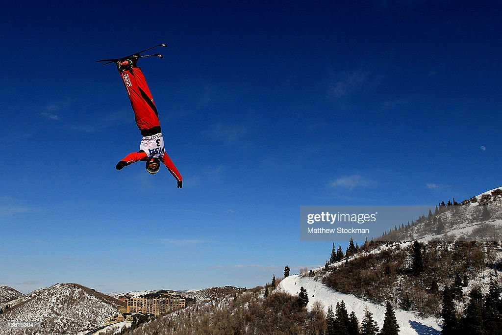 Zhongqing Liu #3 of China trains for the Men's Aerials during the Visa Freestyle International FIS Freestyle World Cup at Deer Valley on February 3, 2012 in Park City, Utah.