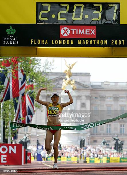 Zhou Chunxiu of China celebrates victory in the Womens Race during the Flora London Marathon 2007 on April 22 2007 in London England