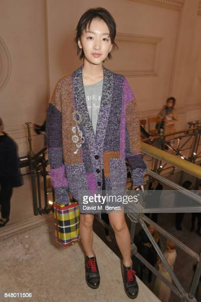 Zhou Dongyu wearing Burberry at the Burberry September 2017 at London Fashion Week at The Old Sessions House on September 16 2017 in London England