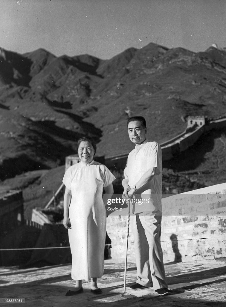 Zhou Enlai and his wife Deng Yingchao on the Badaling section of the Great Wall August 1955