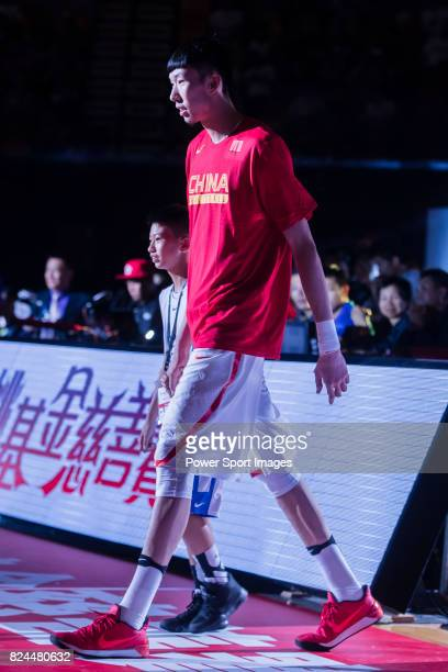 Zhou Qi of Chinese MenÕs Basketball Stars Team player of the Houston Rockets walks on the court prior the game of the Yao Foundation Charity Tour...